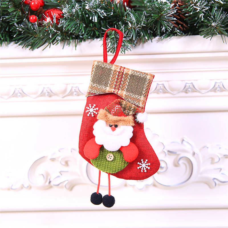 Mini Christmas Stockings Socks Santa Claus Candy Gift Bag Christmas Decorations for Home Festival Party Ornaments  #2o22 (9)