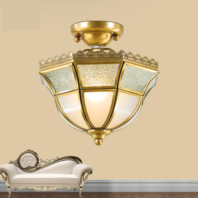 European Modern Round Copper Copper Lamp Small Balcony Ceiling Lamps Aisle Ceiling Lamps Entrance Corridor Lamp