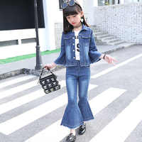 Tarja vestir roupas terno das crianças primavera e outono 2019 novo denim chifre jaqueta de manga comprida + jeans flares terno do corpo para o bebê meninas