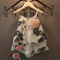 2016 verano caliente de los bebés ropa fijada flores impreso vset y corta 2 unids ropa de las muchachas del bebé del algodón suave y absorbente conjuntos