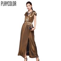 PLAYCOLOR Metallic Evening Dresses Long 2017 V-Neck Prom Dresses High Quality Backless Evening Gown Gold Party Dress _PD1606009