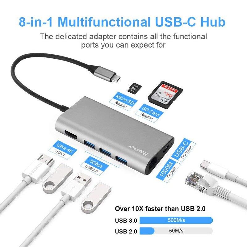 Llano USB docking Estación de todo-en-uno USB-C a HDMI lector de tarjeta RJ45 PD adaptador para MacBook Samsung galaxy S9/S8/S8 + tipo C HUB - 2