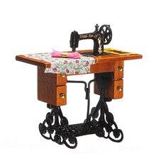 Новый Урожай Миниатюрная Швейная Машина Мебель Игрушки Дом для Куклы Барби Дома Декор Ретро Детские Игрушки Аксессуары