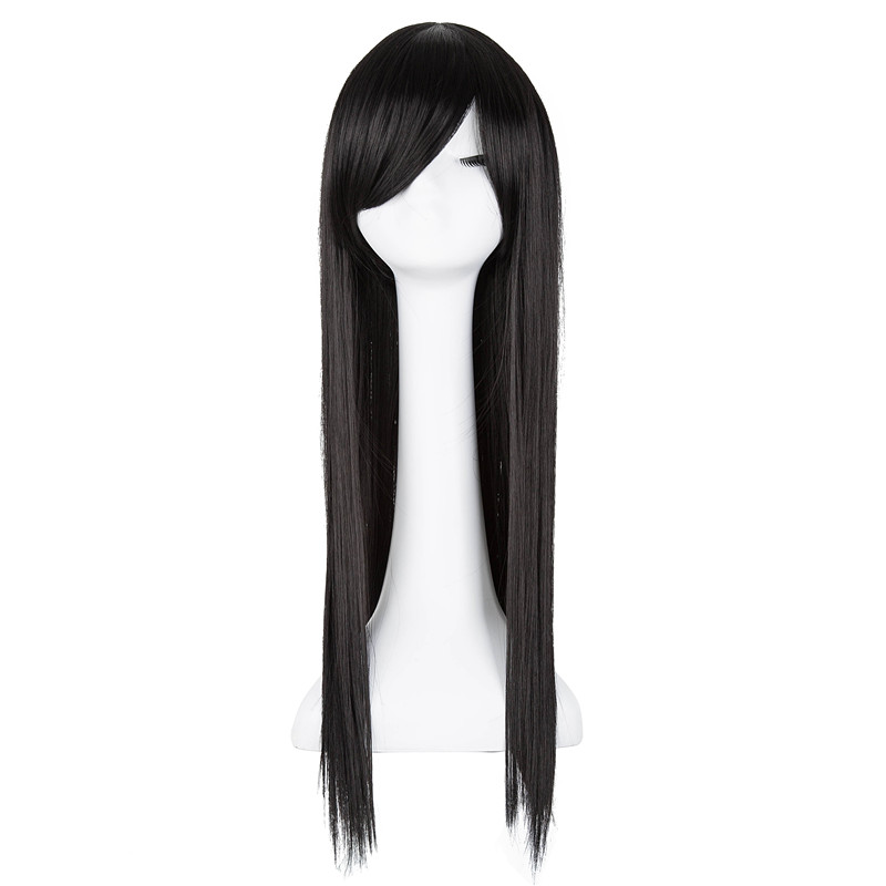 Hair Extensions & Wigs Black Wig Fei-show Synthetic Heat Resistant Fiber Long Straight Hair Women Female Inclined Bangs Oblique Fringe Hairpiece