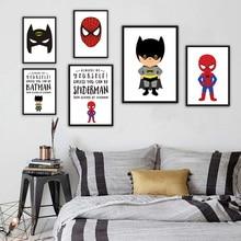 Купить с кэшбэком Cartoon Movie Superhero Canvas Print Poster Art Batman Superman Wall Picture Paintings Modern Style Kids Room Deco No Frame