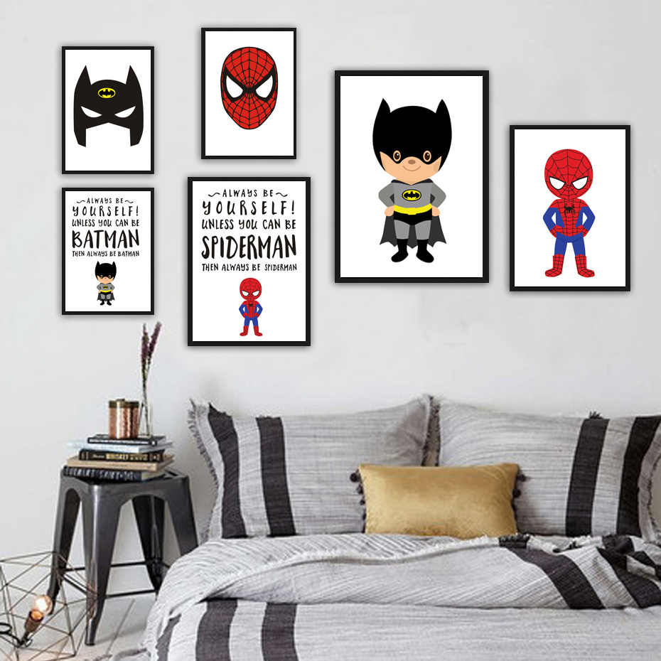 Detail Feedback Questions About Cartoon Movie Superhero Canvas Print Poster  Art Batman Superman Wall Picture Paintings Modern Style Kids Room Deco No  Frame ...