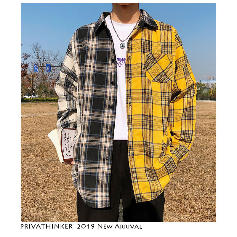 Privathinker Korean Plaid Shirts For Men 2020 Fashion Patchwork Long Sleeve Casual Shirt Hip Hop Streetwear Man Blouse