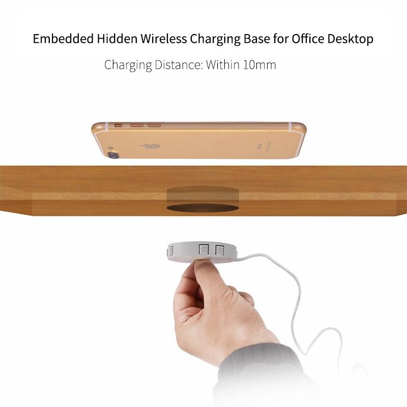 Embedded Wireless Charger for Desktop Hidden Furniture QI Charging Base