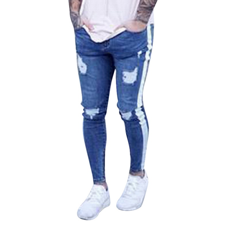 Oeak Mens  Jeans 2019 New Sexy Ripped Hole Stretch Denim Trousers Male Straight Casual Stripe Streetwear Pencil Pants