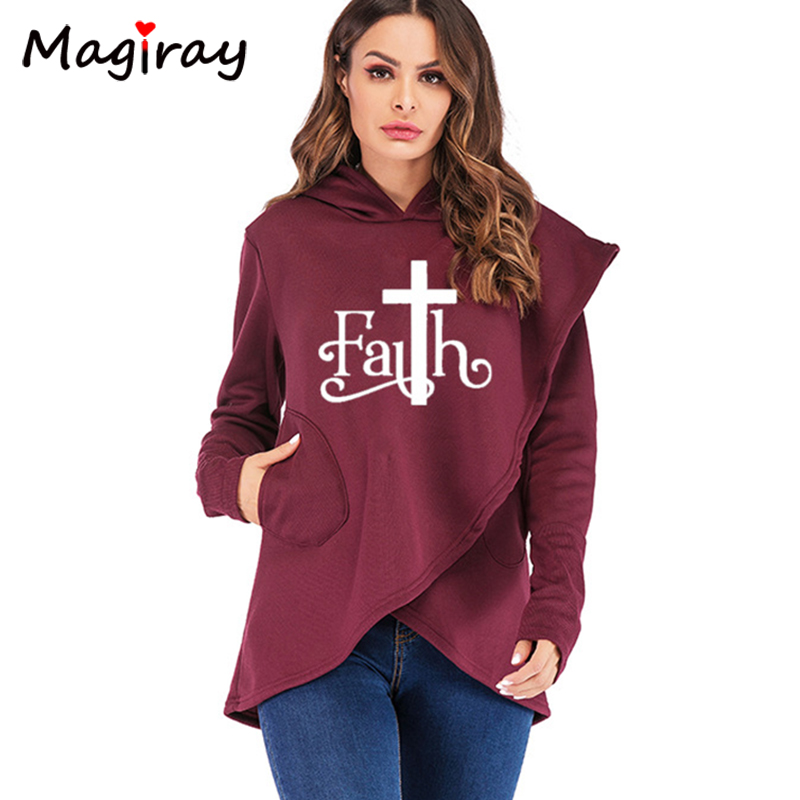 Magiray Faith Letter Print Sweatshirt Women Autumn Winter Hoodie Female Plus Size Irregular Wrap Pocket Streetwear Pullover C167