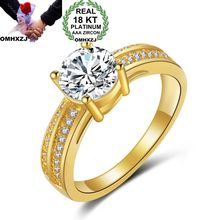 OMHXZJ Wholesale Personality Fashion OL Woman Girl Party Wedding Gift Gold White Simple AAA Zircon 18KT Yellow Ring RN21