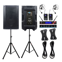STARAUDIO 2X 15 4500W DSP Active Party PA KTV DJ Powered Speakers PA Stands 2 Channel UHF Wireless Headset Microphone SDSP 15