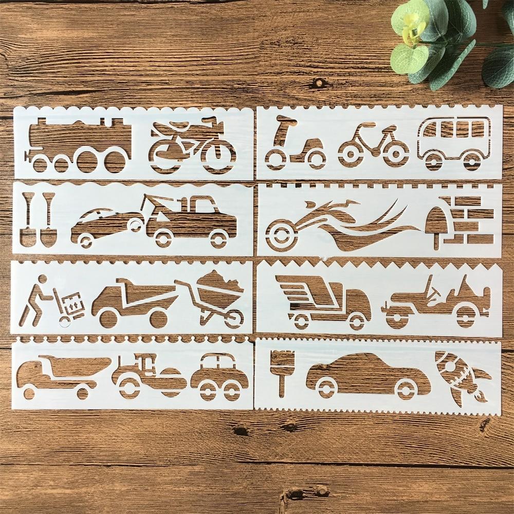 New 8Pcs/Set 18cm Car Motors DIY Layering Stencils Painting Scrapbook Coloring Embossing Album Decorative Card Template