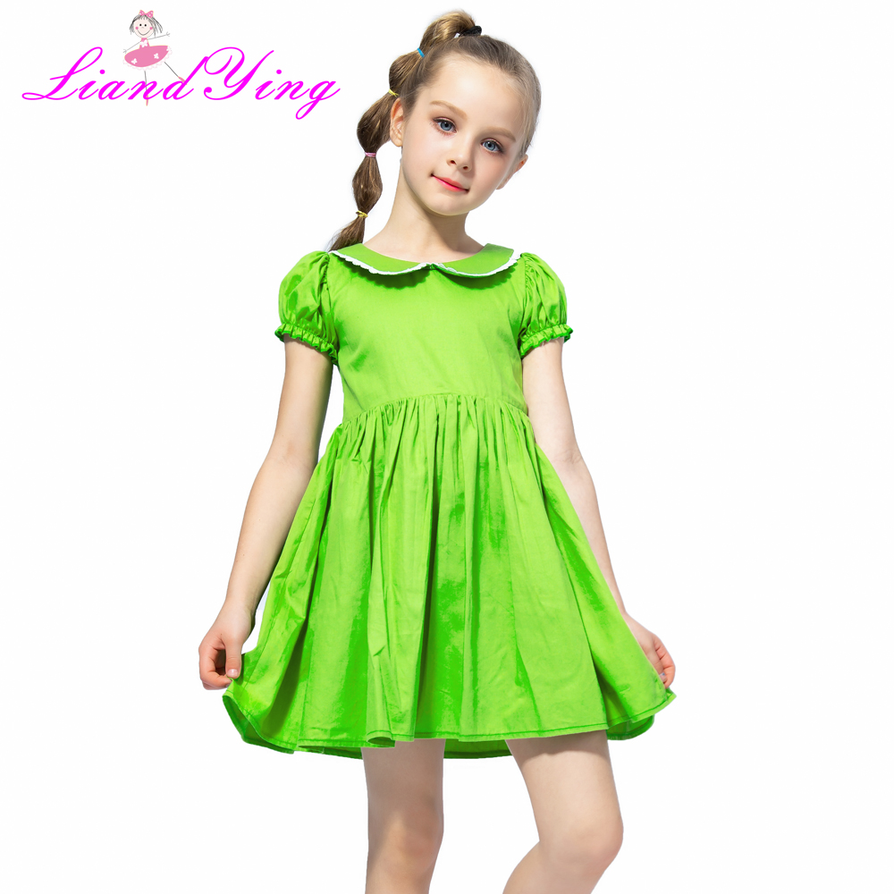 Flower     Girl     Dress   Vintage Cotton Green Color   Dress   2018 Summer Princess Wedding Party   Dresses   Children Clothes Size 2-12Y