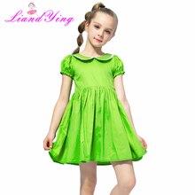 Vestido de flores para niña, vestido de algodón Vintage de Color verde, vestidos de fiesta de verano de 2020 para Boda de Princesa, ropa para niños, tamaño 2-12 y