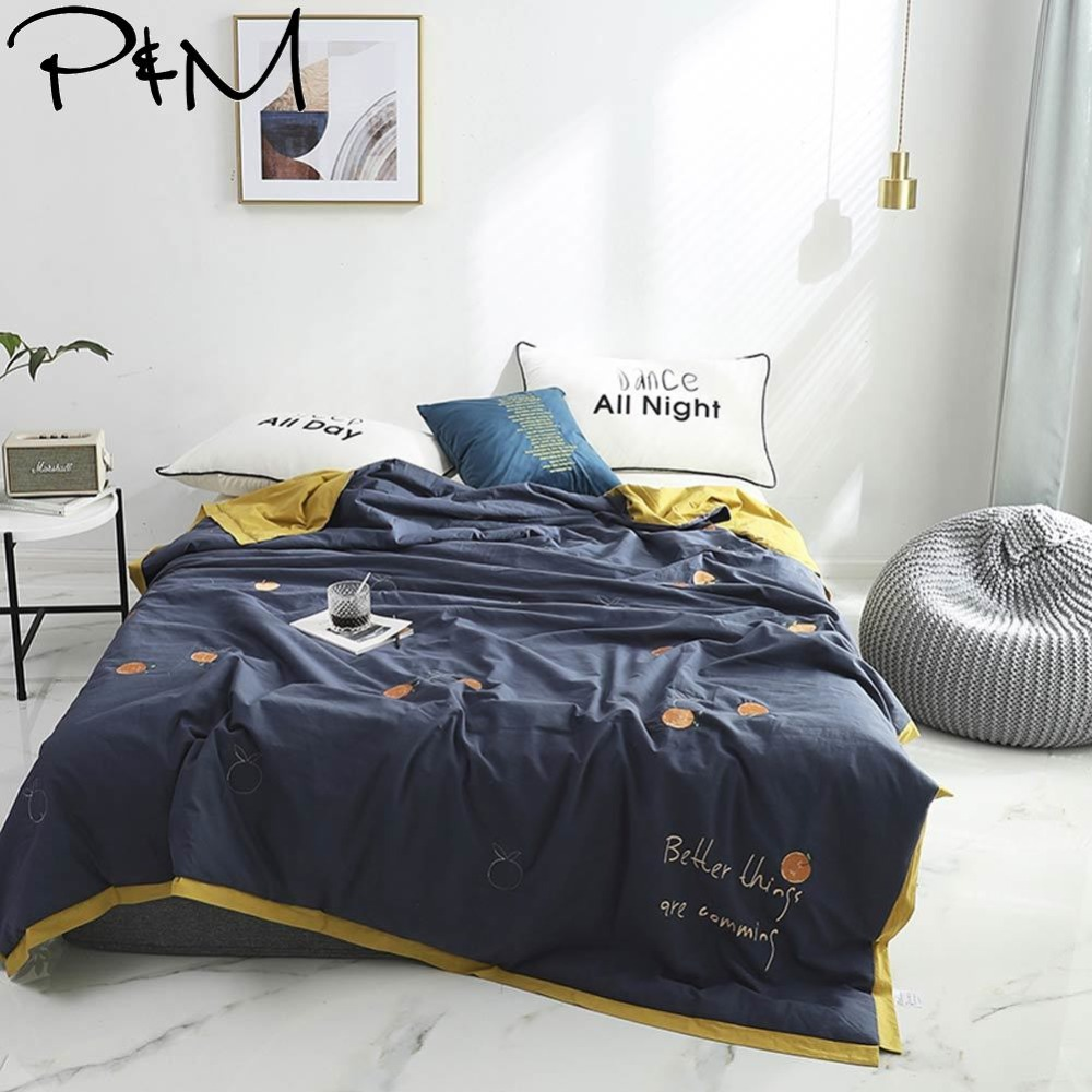 2019 Dark Grey Blue Orange Simple Air-condition Thin Summer Quilt Embroidery Comforter Washed Cotton Fabric Queen Size2019 Dark Grey Blue Orange Simple Air-condition Thin Summer Quilt Embroidery Comforter Washed Cotton Fabric Queen Size