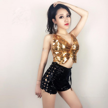 Women Gold Silver Rose Sequins Top Bandage Shorts Set Nightclub Sexy Backless Dress