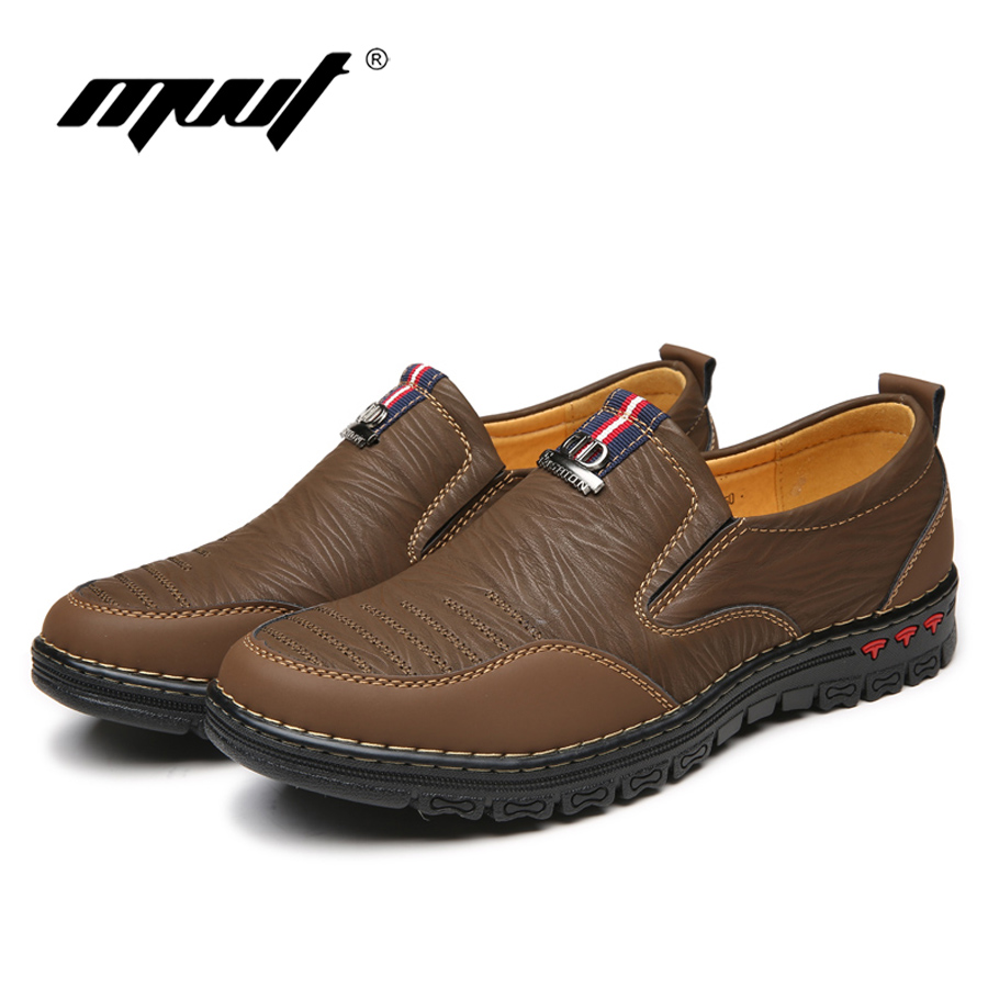 2017 estilo Caliente de cuero suave zapatos planos de los hombres de cuero genui