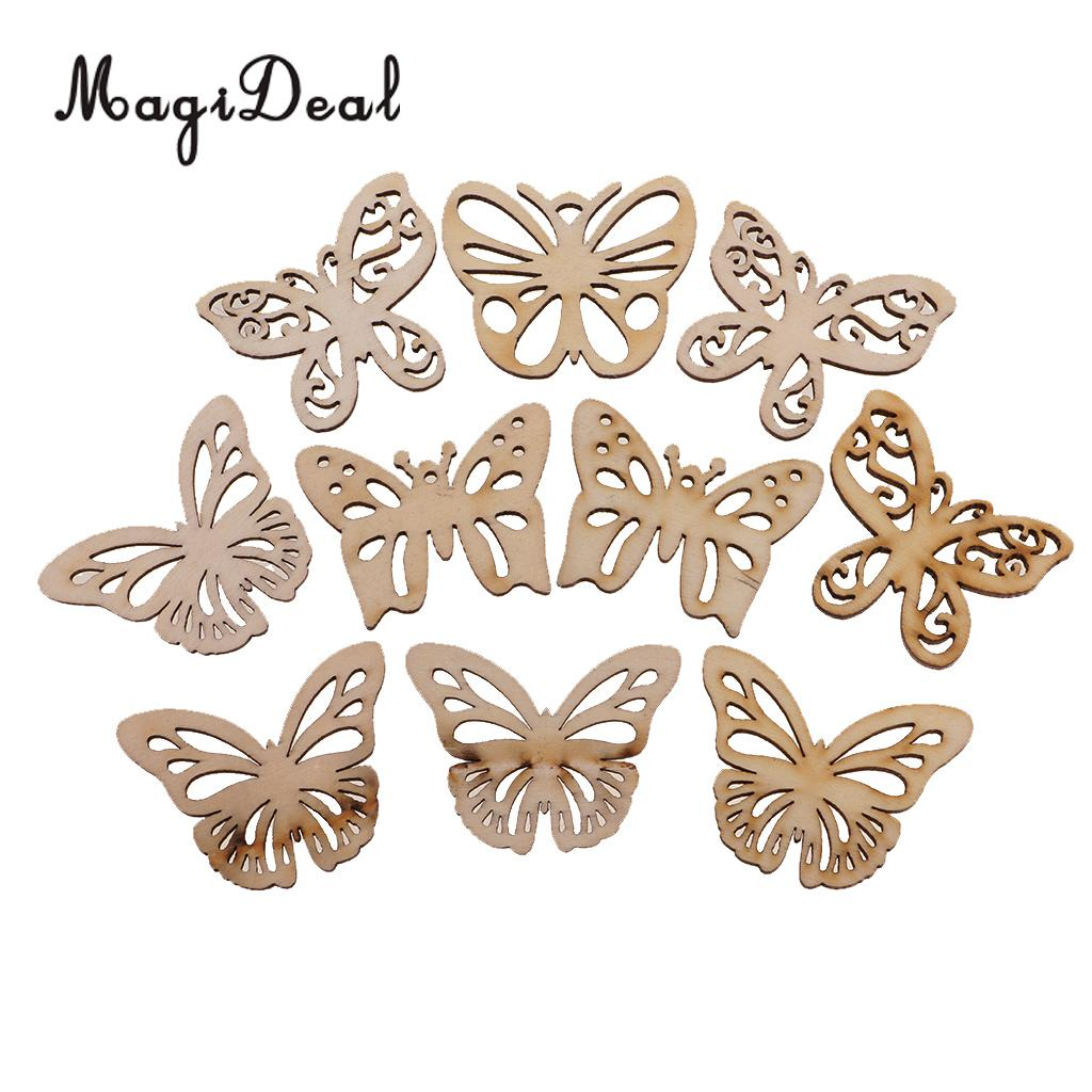 10 unids madera natural mariposa Plain shabby chic Craft adorno de ...