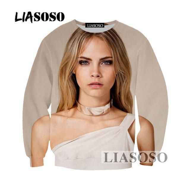 105da09f856038 LIASOSO 2019 najnowszy Cara Delevingne męskie i damskie moda bluza 3D druku  bluza z długim rękawem