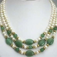 Unique design high grade 3 row 7 8mm natural white pearl beads green beads necklace elegant gift mother jewelry 17 19inch MY4783