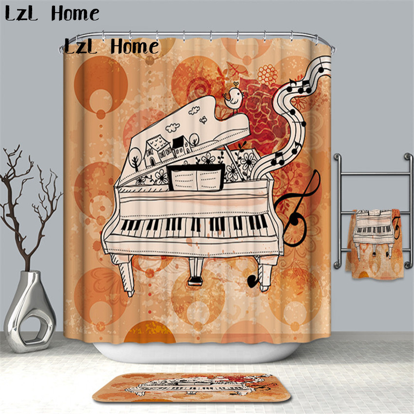 LzL Home 3D Abstract Music Device Image Shower Curtain Waterproof Bath Screens Polyester Fabric Bathroom Curtain With Hooks Gift