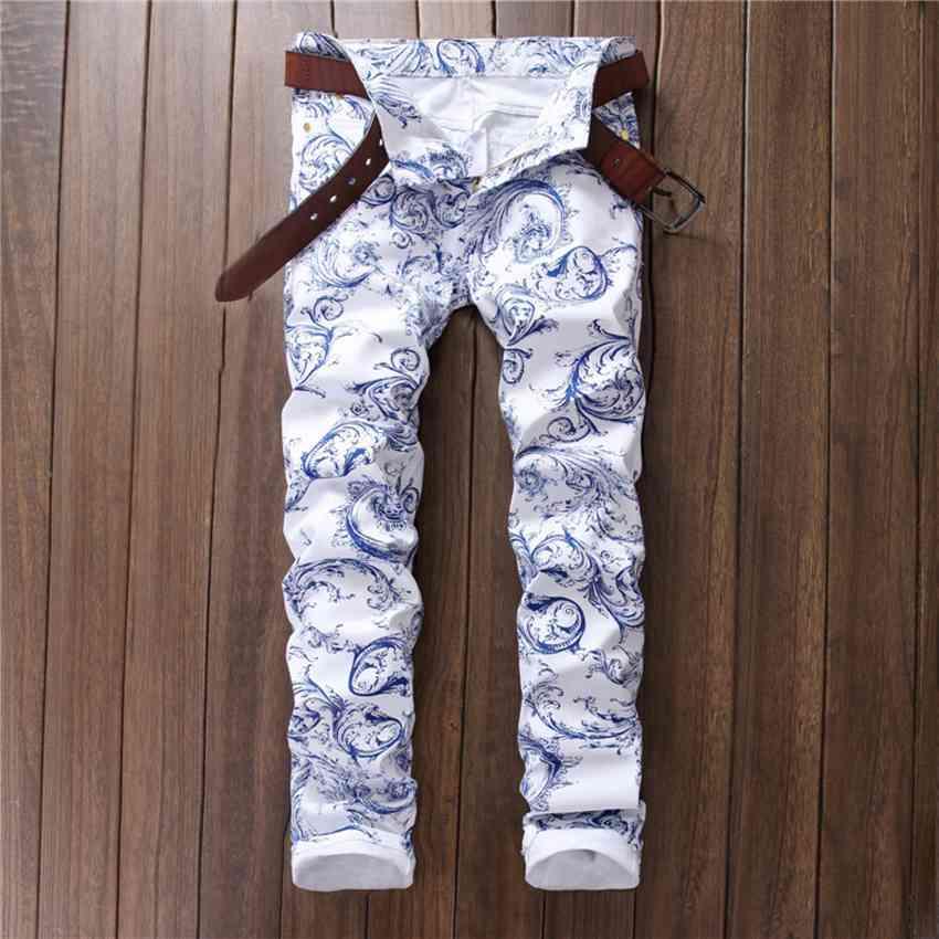 #1532 2017 Motorcycle Mens printed jeans White jeans men Fashion Skinny Men biker jeans Biker Designer jeans men high quality