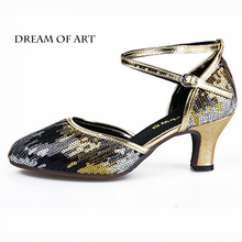 New style latin/salsa dance shoes for ballroom dancing glitter material dancing shoes for women