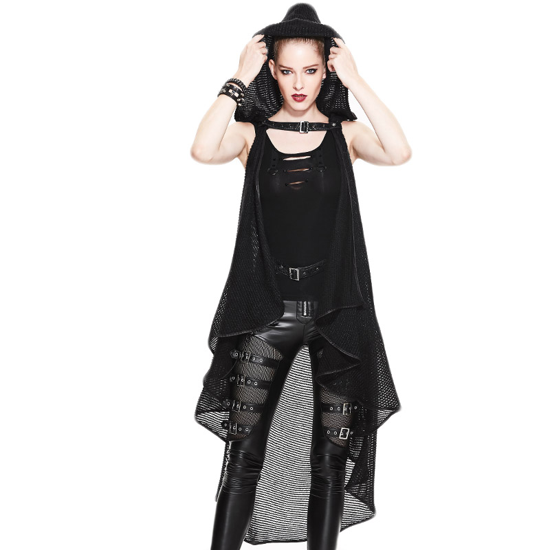 Gothic Steampunk Women's Hooded Long Coat 2017 Spring Autumn Asymmetric Cardigans Black Sleeveless Shawl Stitching Open Stitch