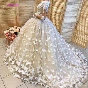 Image 4 - فستان زفاف بفراشات منتفخ وحفلات زفاف في دبي فساتين زفاف مخصصة بأكمام طويلة vestido de noiva robe de mairee
