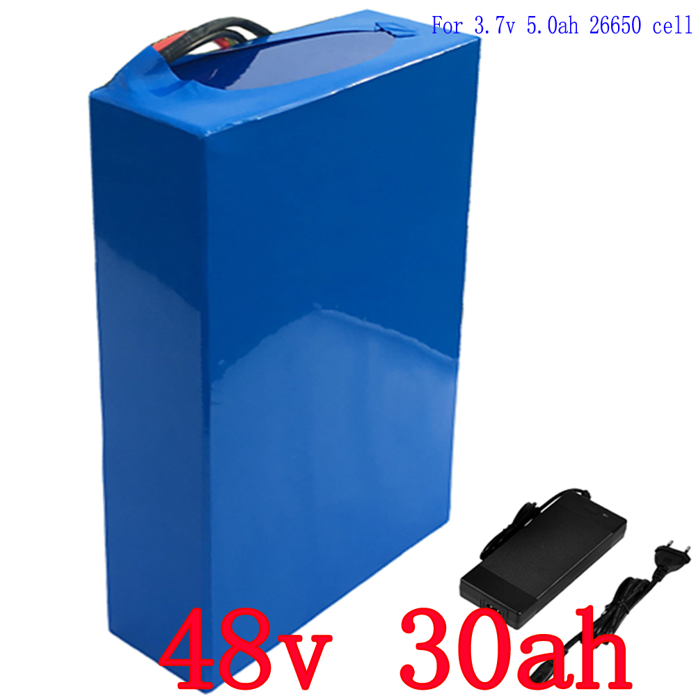 48v 30ah 2000w Rechargeable Battery Pack Lithium ion Battery Built in 50A BMS with 2A Charger e-Bike Battery 48v Free Shipping eu us no tax 2000w 48v 30ah triangle battery 48v lithium battery 48v e bike battery use for samsung cell 50a bms 5a charger