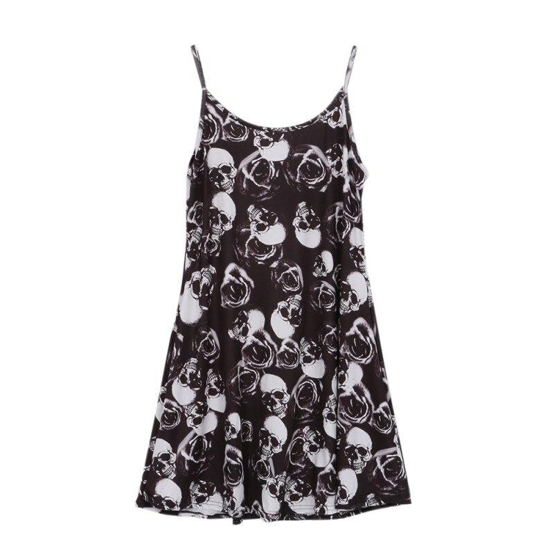 Women Sleeveless Mini Dresses Plaid Skull Print Camouflage Ladies Summer Sexy Sling Short Dress