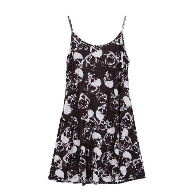 Women Summer Sleeveless Mini Dresses Plaid Skull Print Camouflage Ladies Sexy Sling Short Dress