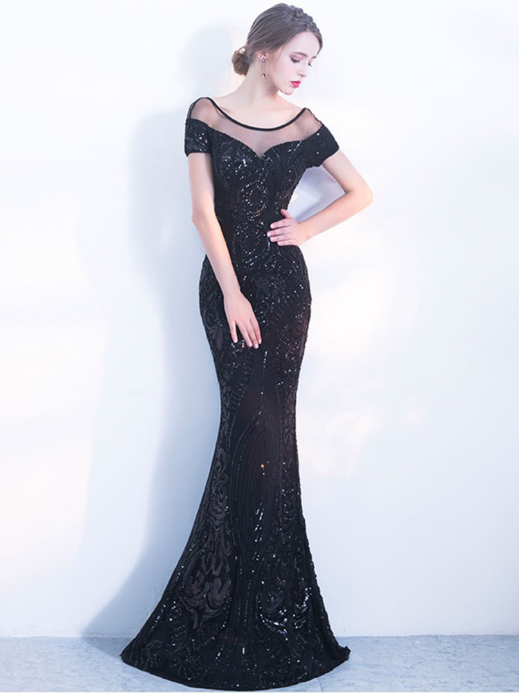 YIDINGZS Evening-Dresses Sequins YD100 Backless Elegant Black Long Simple
