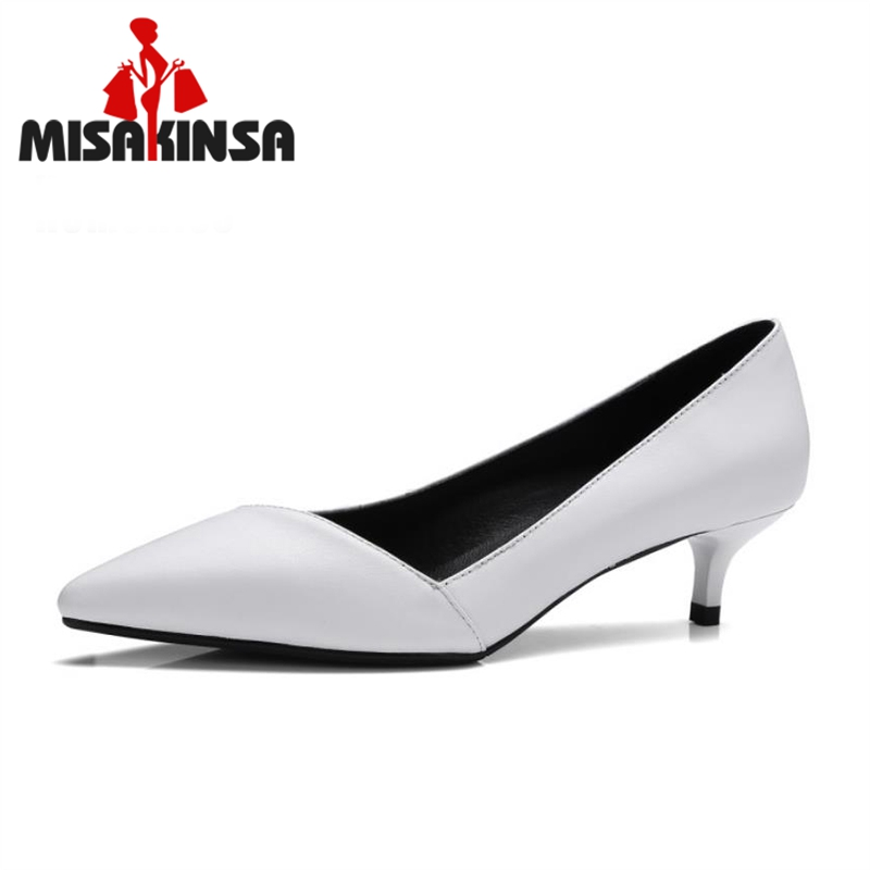 MISAKINSA Ladies Genuine Leather Heels Pumps Sexy Female Pointed Toe Slip On Pumps Shallow Shoes Women Footwear Size 33-41 ladies real leather pumps shoes women pointed toe cross strap gladiator shoes fiork nude color sexy female footwear size 34 40
