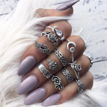 11pcs/set Fashion Vintage Punk Midi Rings Set 2017 Antique Gold Color Boho Female Charms Jewelry Knuckle Ring For Women Man