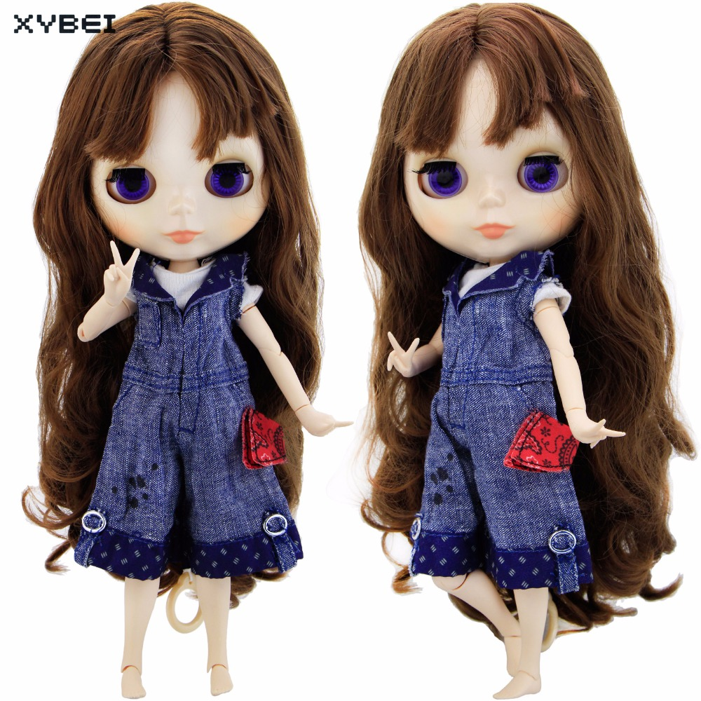 Handmade Denim Jumpsuits Lovely Cute Outfit Daily Casual Wear Short Sleeves Clothes For Blythe Doll Accessories 11 11.5 Gift
