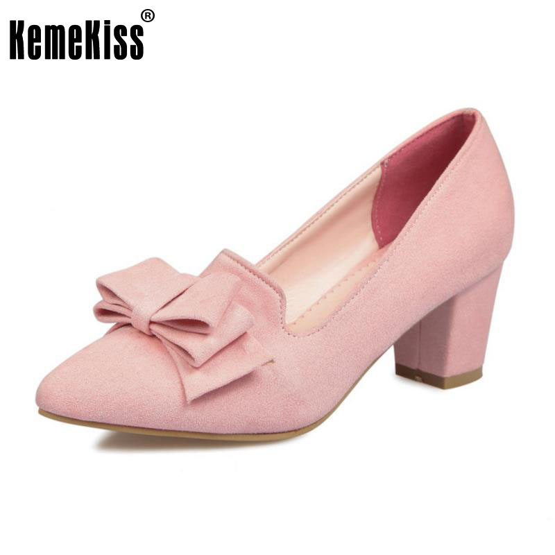 KemeKiss Size 33-43 Ladies Pointed Toe High Heels Women Shoes Bowknot Thick Heel Pumps Fashion Party Office Lady Daily Footwear цены онлайн