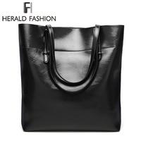 Herald Fashion New Arrivals High Quality Leather Women Bag Bucket Shoulder Bags Solid Big Handbag Large