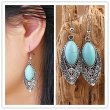 1 Pair Charming Hollow Leaves tibetan silver earring with turquoise and crystal vintage hoop earrings for women jewelry Hot pair of stylish faux crystal hoop earrings for women
