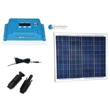 Portable Solar Panel 50W 18V 12V Charger Controller Regulator 12v /24v 10A LCD Camping Car Caravan Motorhome