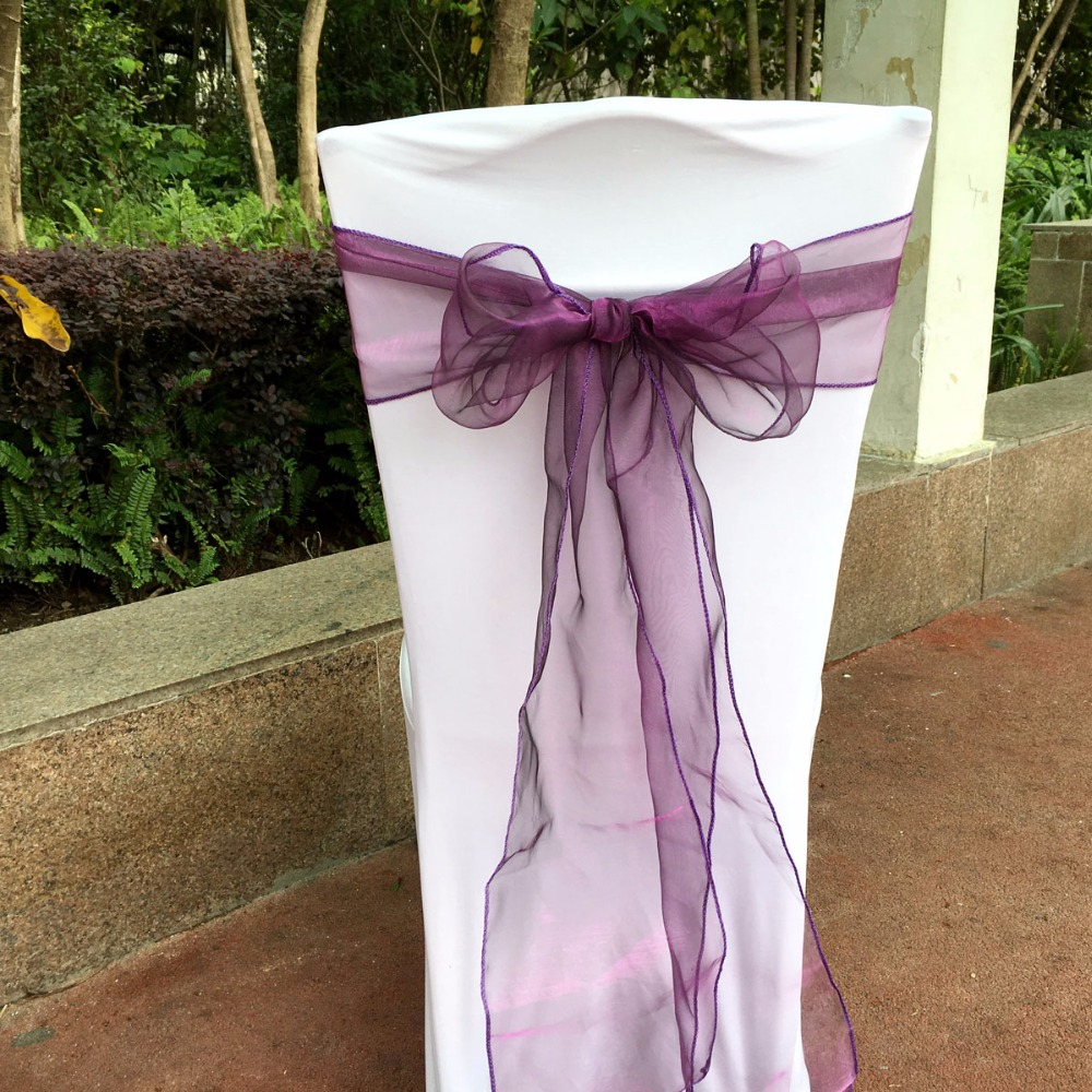 100 Pieces Purple color Organza Sashes Chair Cover Bow Banquet Wedding Party Decoration New 2016