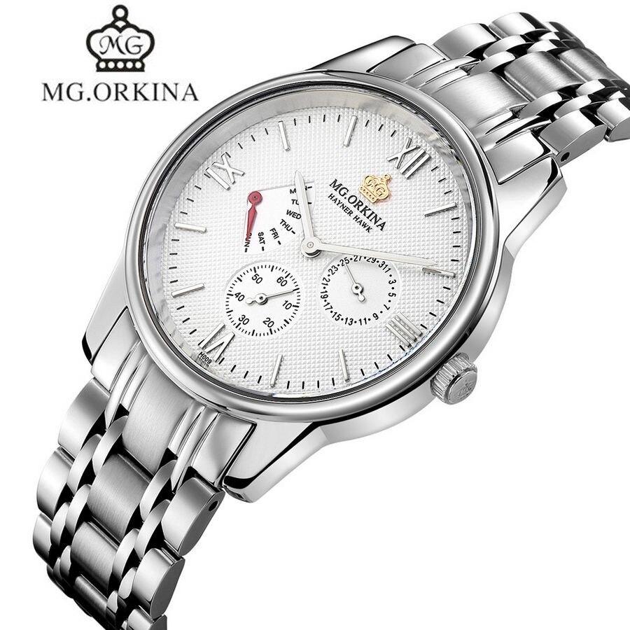 ФОТО MG.Orkina Luxury Original Men's Sapphire Quartz Week/Date Stop Watches Wristwatch Gift Box Free Ship