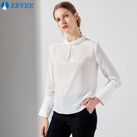 2018 spring summer women's Tops, white Real silk shirts, long sleeves, elegant thin shirts, high quality fabrics.