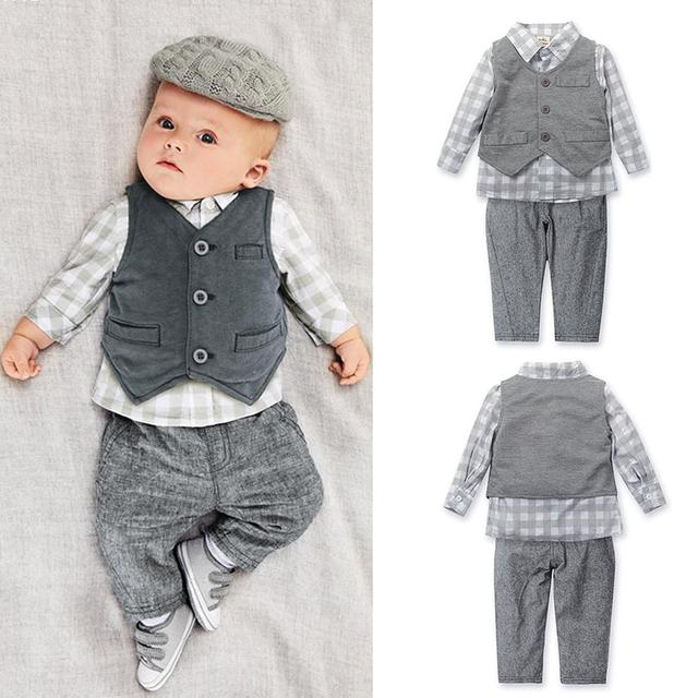 New Baby Boy clothing Sets kids 3pcs/set Vest+ shirt + Pants children Boys Autumn Casual Clothes kids costume Q3