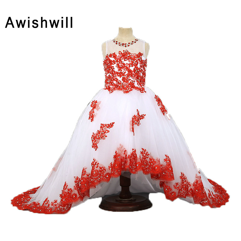 Flower Girl Dresses for Weddings 2019 White With Red Lace Kids Evening Dress Holy Communion Dresses For Girls Pageant Gowns