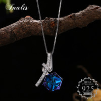 INALIS 925 Sterling Silver Blue Cube Crystal Pendant Necklace For Women Authentic Original Jewelry Gift
