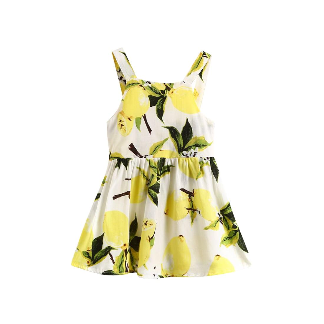 High quality Newborn Baby Kid Girl Sleeveless Sundress Fresh Dress Pageant Party Clothes Tutu Lemon 0-24