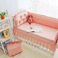 9 pcs algodão rendas princesa do bebê kit berço berço bedding bedding sets quilt fronha bumpers rosa roupas de cama de bebê cama necessaries