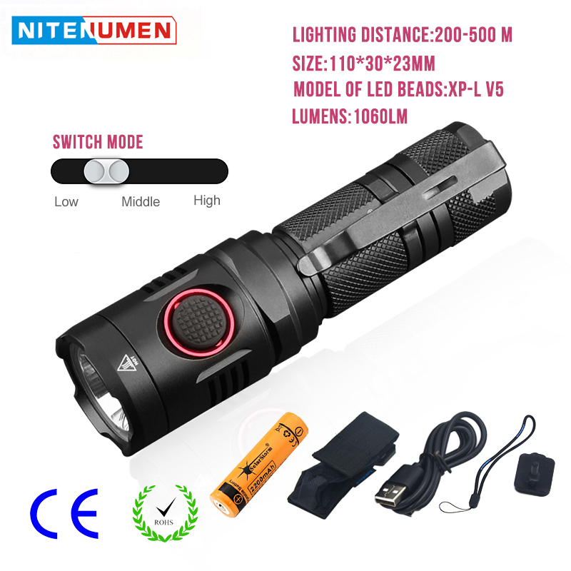 Mini Portable LED Flashlight Usb Rechargeable Aluminum Waterproof Tactical LED Torch 1060LM For Camping With 18650 Battery wuben led flashlight tactical torch 18650 battery usb rechargeable lights waterproof led lamp cree portable camping lantern l50